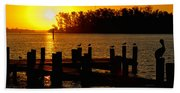 Sunrise At The Boat Launch  Beach Towel