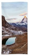Sunrise At The Matterhorn Mountain Area Beach Towel