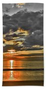 Sunrise-hdr-bw With A Touch Of Color Beach Towel