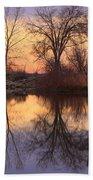 Sunrise Lake Reflections Beach Towel