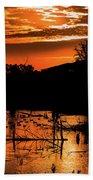Sunrise Over A Pond Beach Towel