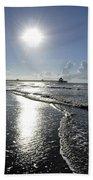 Sunrise Over Folly Beach Pier Beach Towel