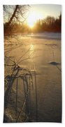 Sunrise Reflecting Off Mississippi River Ice Beach Towel
