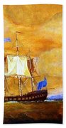 Sunset And Ships Beach Towel