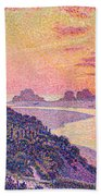 Sunset At Ambleteuse Pas-de-calais Beach Towel by Theo van Rysselberghe