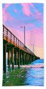 Sunset At Avila Beach Pier Beach Towel