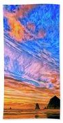 Sunset At Cannon Beach Beach Towel