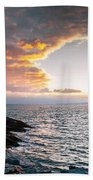 Sunset At Castle Hill Beach Towel