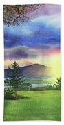 Sunset At Columbia River State Of Washington Beach Towel