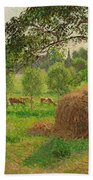 Sunset At Eragny Beach Towel by Camille Pissarro