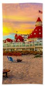 Sunset At Hotel Del Coronado Beach Towel