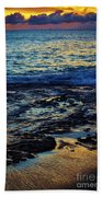 Sunset At Low Tide Beach Towel