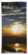 Sunset At Multnomah Falls Beach Towel