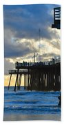 Sunset At Pismo Pier Beach Towel
