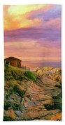 Sunset At Portland Head Beach Towel