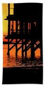 Sunset At Raft With Bird Beach Towel