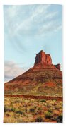 Sunset At The Castleton Tower Beach Towel