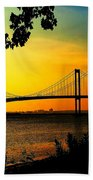 Sunset At The Delaware Memorial Bridge Beach Towel