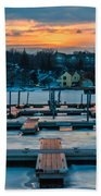 Sunset At The Marina In Winter Beach Towel