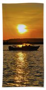Sunset Boat Beach Towel
