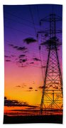 Sunset By The Wires Beach Towel