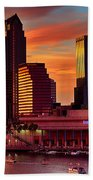 Sunset City Downtown By The River Beach Towel