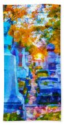Sunset In Pere Lachaise Abstraction Beach Towel