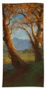 Sunset In The Nebraska Territory Beach Towel by Albert Bierstadt