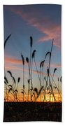 Sunset In The Weeds Beach Towel