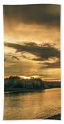 Sunset On The Willamette River Beach Towel