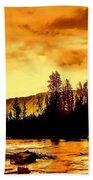 Sunset At  Yellowstone Lake Beach Towel