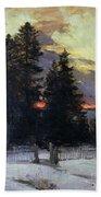 Sunset Over A Winter Landscape Beach Towel by Abram Efimovich Arkhipov