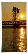 Sunset Over Columbia Crossing I-5 Bridge Beach Sheet