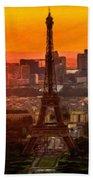 Sunset Over Eiffel Tower Beach Towel