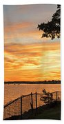 Sunset Over Lynch Park Beverly Ma Water Tower Beach Towel