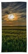 Sunset Over North Pas De Calais In France Beach Towel