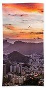 Sunset Over Rio De Janeiro  Beach Towel