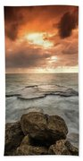 Sunset Over The Sea In Israel Beach Towel