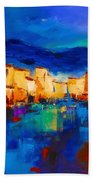 Sunset Over The Village Beach Towel by Elise Palmigiani