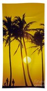 Sunset Palms And Family Beach Towel