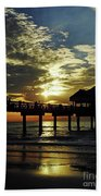 Sunset Pier Reflection Beach Towel