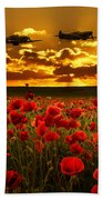 Sunset Poppies Fighter Command Beach Towel
