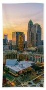 Sunset Sunrise Over Charlotte Skyline North Carolina Beach Towel