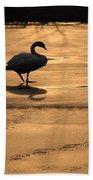 Sunset Swan Beach Towel