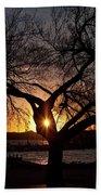 Sunset Through The Tree Beach Towel