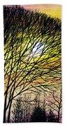Sunset Tree Silhouette Beach Towel