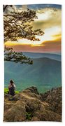 Sunset View At Ravens Roost Panorama Beach Towel