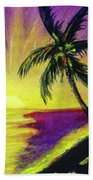 Sunset Water Color Footprints #26 Beach Towel