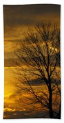 Sunset With Backlit Trees Beach Towel