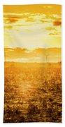 Sunsets And Golden Turbines Beach Sheet
